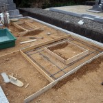 お墓の基礎工事写真